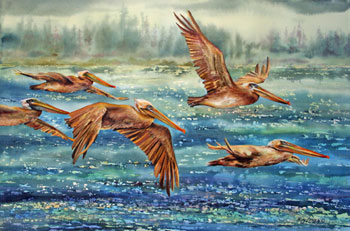 Pelicans In Flight by Roy Lowry